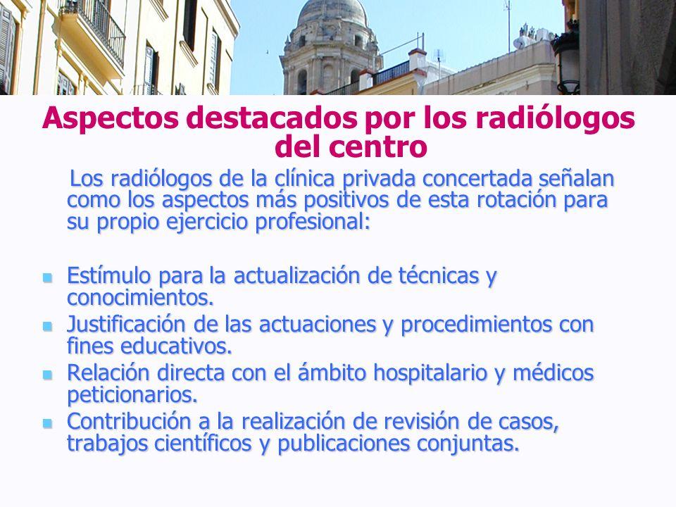 Aspectos destacados por los radiólogos del centro Los radiólogos de la clínica privada concertada señalan como los aspectos más positivos de esta rota