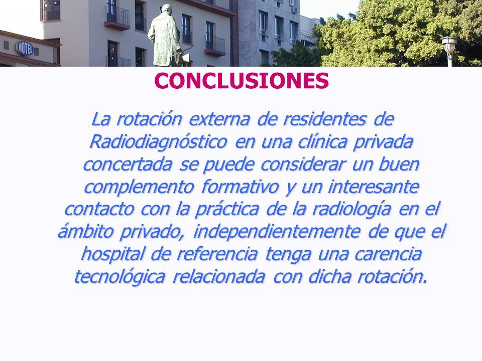 CONCLUSIONES La rotación externa de residentes de Radiodiagnóstico en una clínica privada concertada se puede considerar un buen complemento formativo