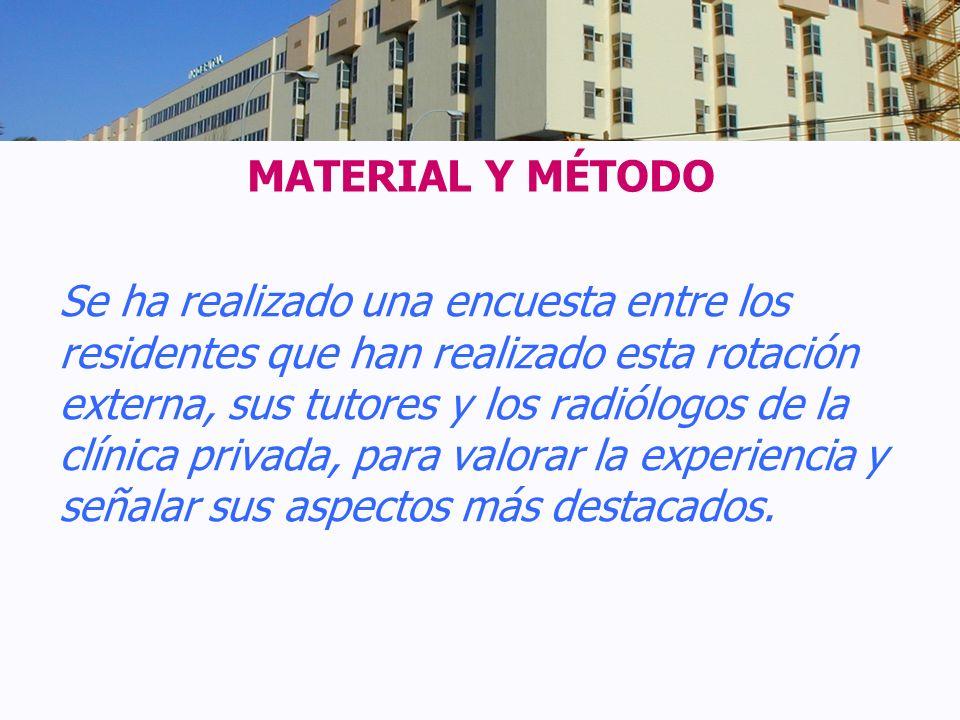 MATERIAL Y MÉTODO Se ha realizado una encuesta entre los residentes que han realizado esta rotación externa, sus tutores y los radiólogos de la clínic