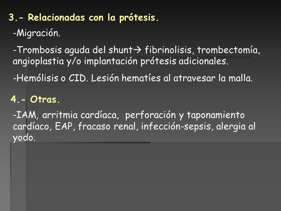 3.- Relacionadas con la prótesis. -Migración. -Trombosis aguda del shunt fibrinolisis, trombectomía, angioplastia y/o implantación prótesis adicionale