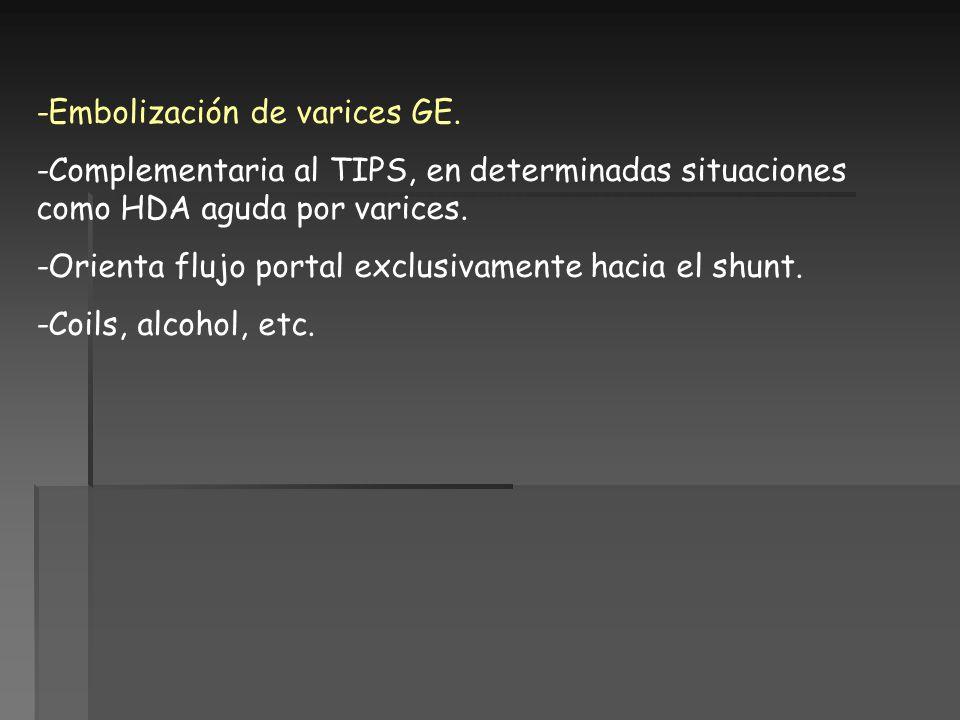 -Embolización de varices GE. -Complementaria al TIPS, en determinadas situaciones como HDA aguda por varices. -Orienta flujo portal exclusivamente hac