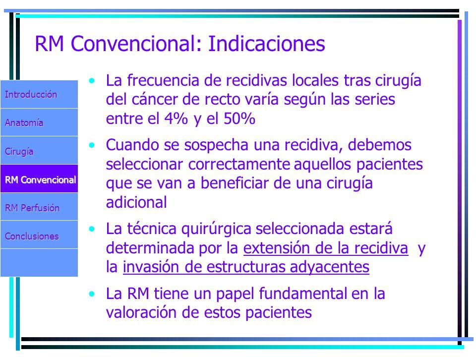 RM Convencional: Indicaciones La frecuencia de recidivas locales tras cirugía del cáncer de recto varía según las series entre el 4% y el 50% Cuando s