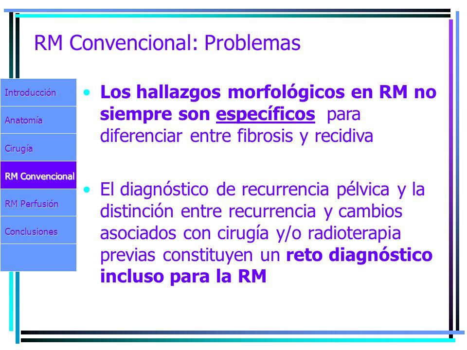 RM Convencional: Problemas El diagnóstico de recurrencia pélvica y la distinción entre recurrencia y cambios asociados con cirugía y/o radioterapia pr