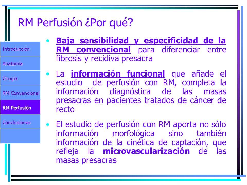 RM Perfusión ¿Por qué? Baja sensibilidad y especificidad de la RM convencional para diferenciar entre fibrosis y recidiva presacra La información func
