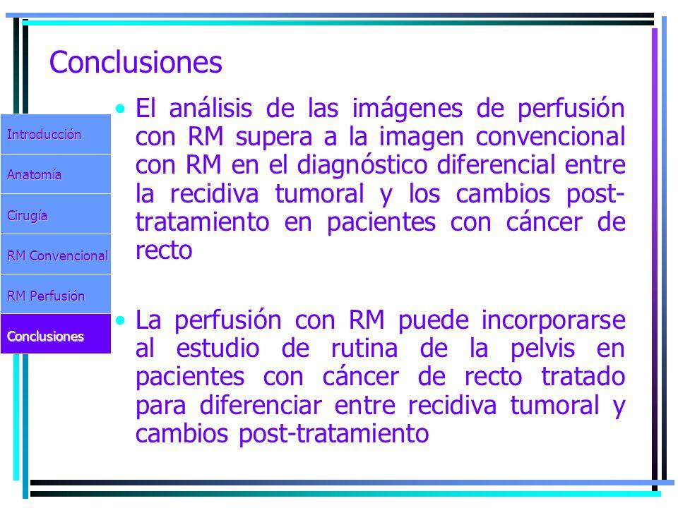 Conclusiones El análisis de las imágenes de perfusión con RM supera a la imagen convencional con RM en el diagnóstico diferencial entre la recidiva tu