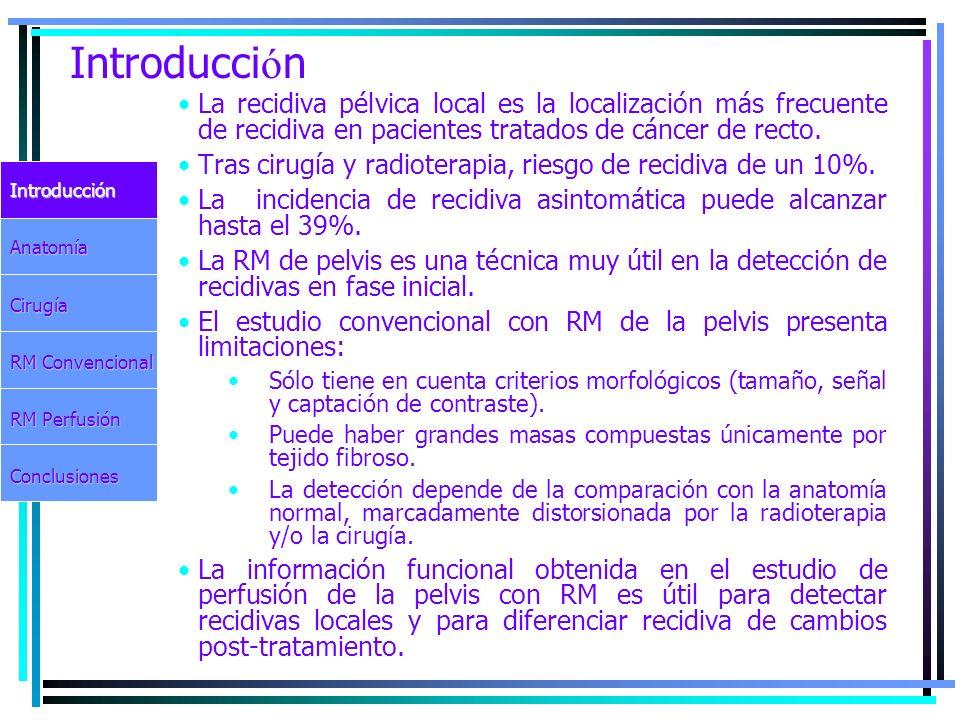 Introducci ó n La recidiva pélvica local es la localización más frecuente de recidiva en pacientes tratados de cáncer de recto. Tras cirugía y radiote