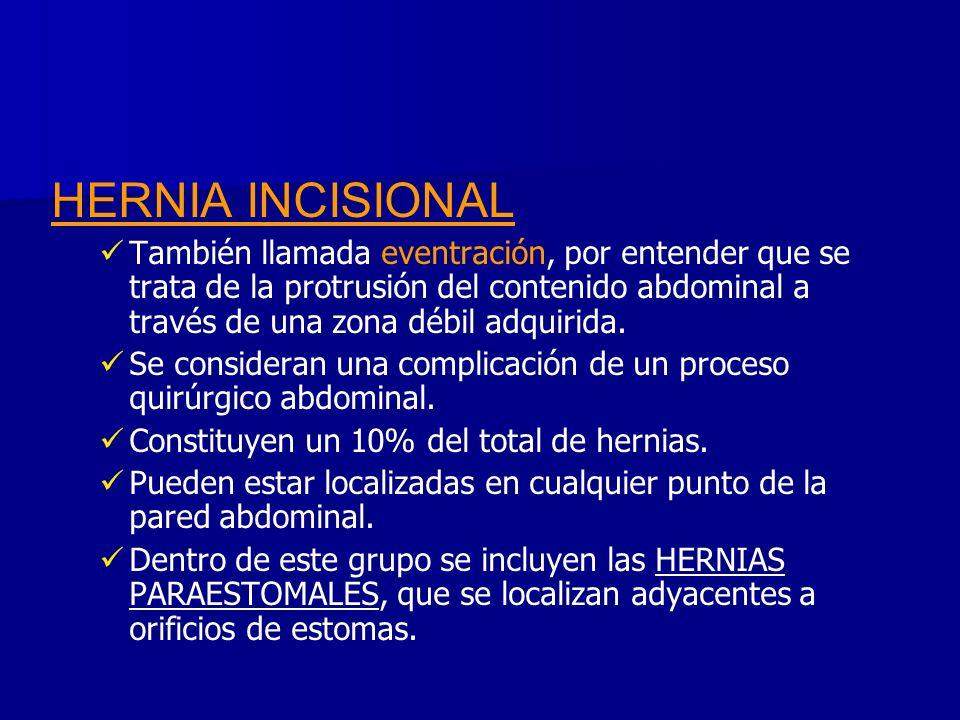 HERNIA INCISIONAL También llamada eventración, por entender que se trata de la protrusión del contenido abdominal a través de una zona débil adquirida