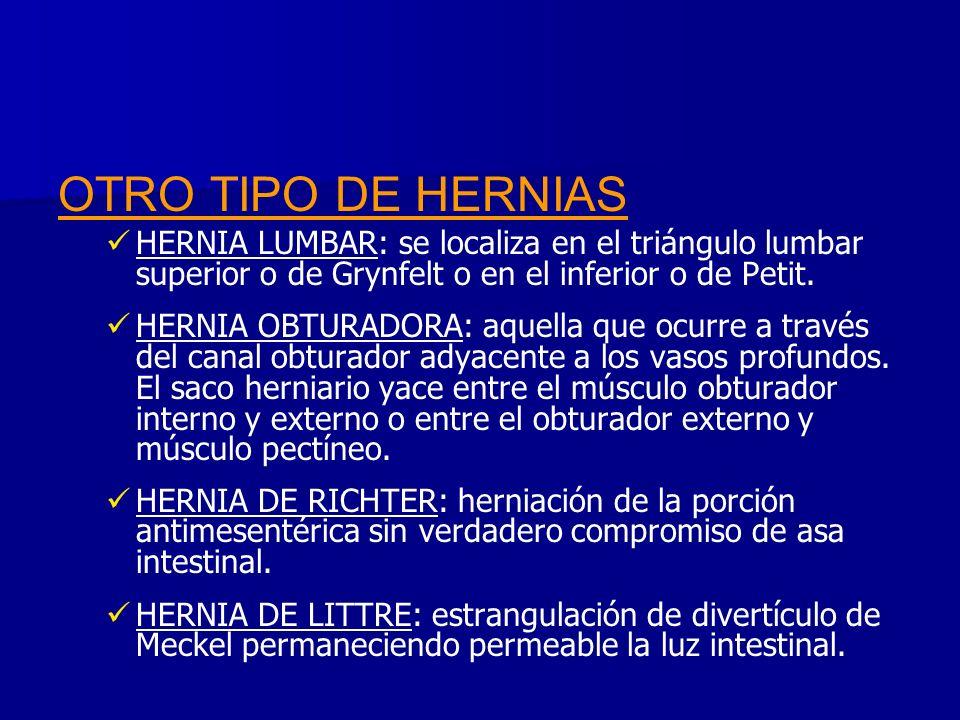 OTRO TIPO DE HERNIAS HERNIA LUMBAR: se localiza en el triángulo lumbar superior o de Grynfelt o en el inferior o de Petit. HERNIA OBTURADORA: aquella
