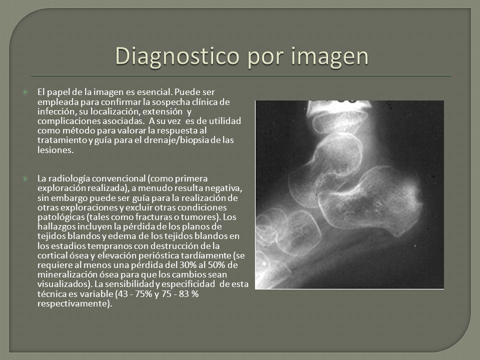 El papel de la imagen es esencial. Puede ser empleada para confirmar la sospecha clínica de infección, su localización, extensión y complicaciones aso