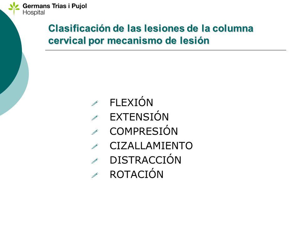 Clasificación de las lesiones de la columna cervical por mecanismo de lesión FLEXIÓN EXTENSIÓN COMPRESIÓN CIZALLAMIENTO DISTRACCIÓN ROTACIÓN