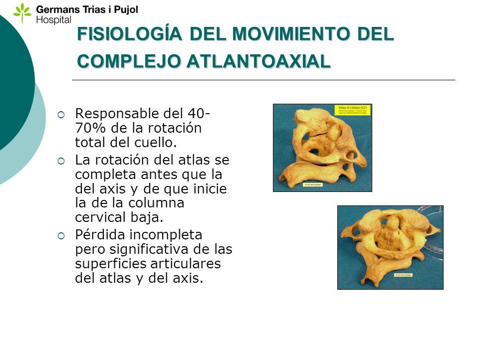 FISIOLOGÍA DEL MOVIMIENTO DEL COMPLEJO ATLANTOAXIAL Responsable del 40- 70% de la rotación total del cuello. La rotación del atlas se completa antes q