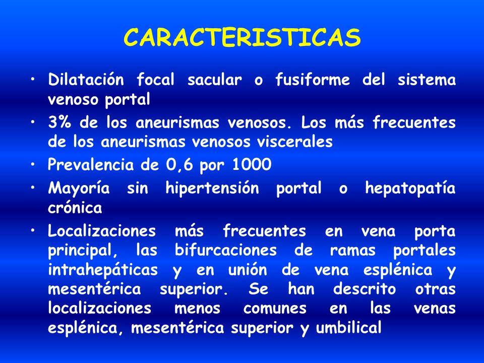 CARACTERISTICAS Dilatación focal sacular o fusiforme del sistema venoso portal 3% de los aneurismas venosos. Los más frecuentes de los aneurismas veno