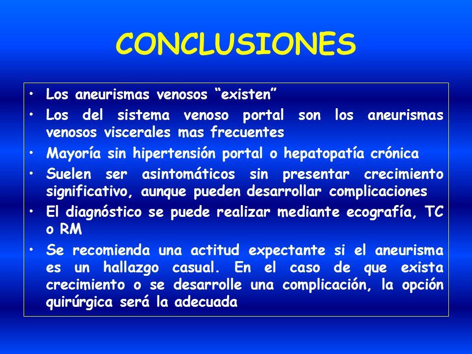 CONCLUSIONES Los aneurismas venosos existen Los del sistema venoso portal son los aneurismas venosos viscerales mas frecuentes Mayoría sin hipertensió
