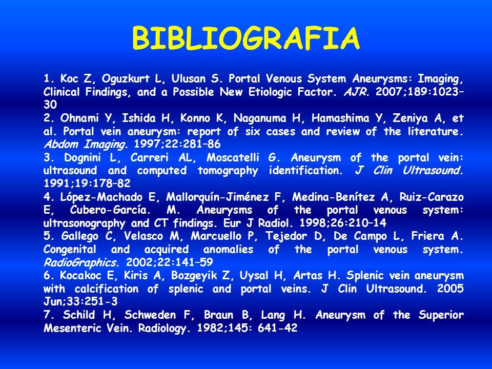 BIBLIOGRAFIA 1. Koc Z, Oguzkurt L, Ulusan S. Portal Venous System Aneurysms: Imaging, Clinical Findings, and a Possible New Etiologic Factor. AJR. 200