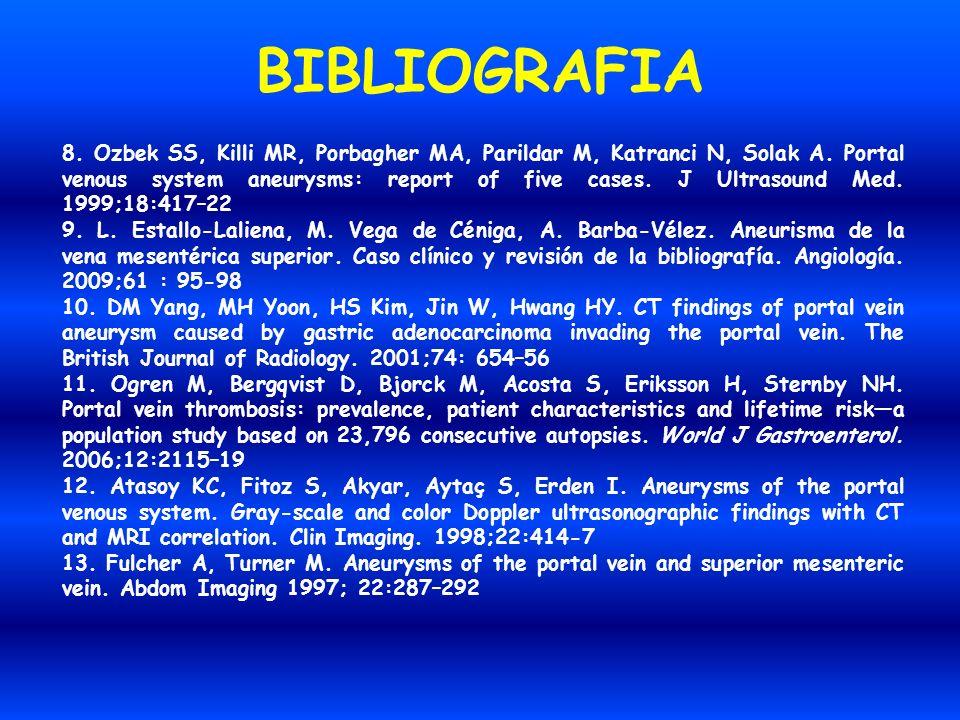 BIBLIOGRAFIA 8. Ozbek SS, Killi MR, Porbagher MA, Parildar M, Katranci N, Solak A. Portal venous system aneurysms: report of five cases. J Ultrasound