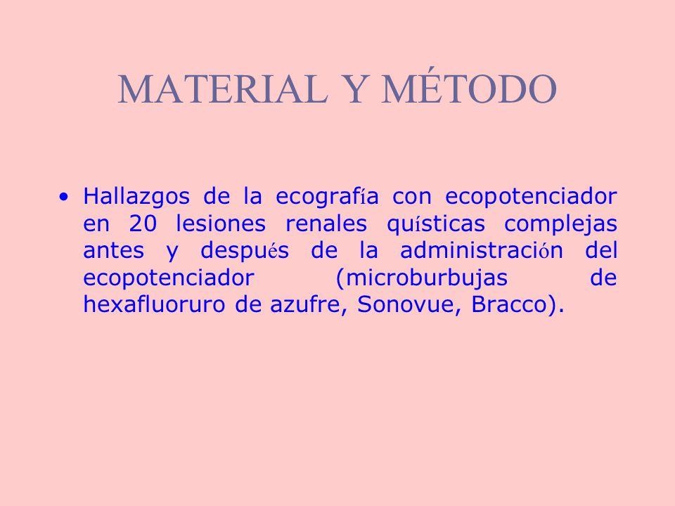 RESULTADOS: categoría III Ecografía basal: quiste complejo de contenido heterogéneo Podría tratarse de un quiste hemorrágico.