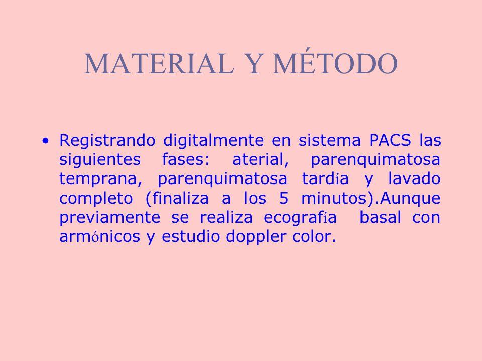 MATERIAL Y MÉTODO Registrando digitalmente en sistema PACS las siguientes fases: aterial, parenquimatosa temprana, parenquimatosa tard í a y lavado co