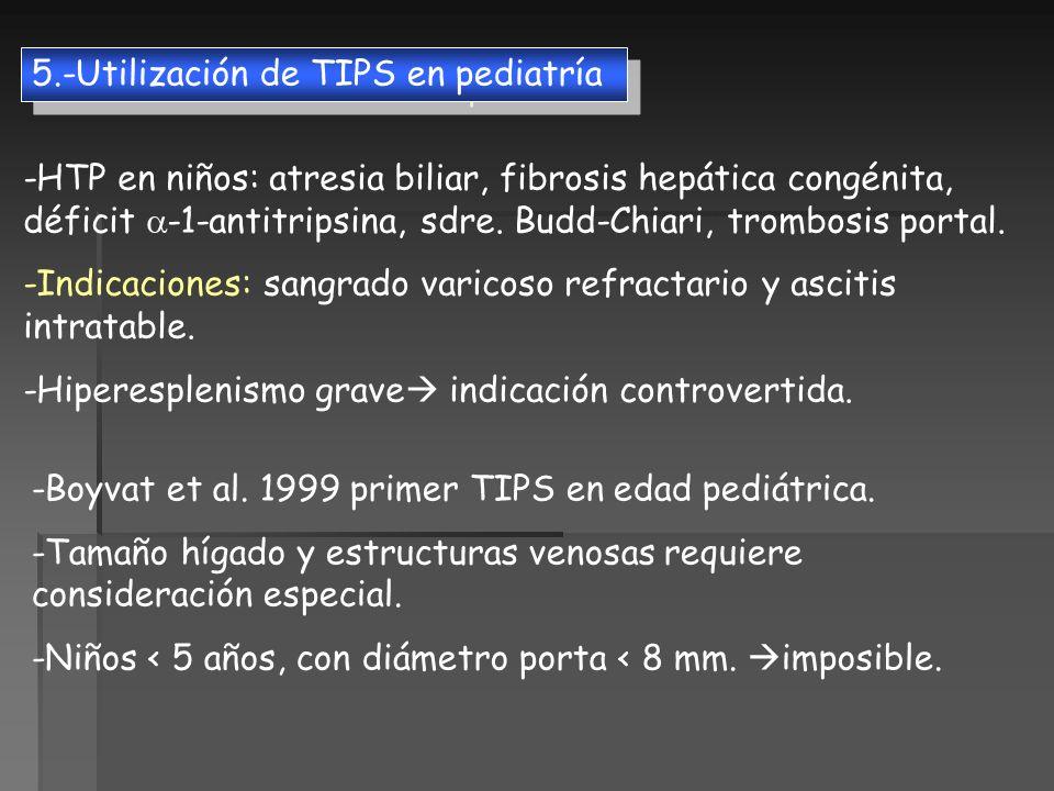 5.-Utilización de TIPS en pediatría -HTP en niños: atresia biliar, fibrosis hepática congénita, déficit -1-antitripsina, sdre. Budd-Chiari, trombosis