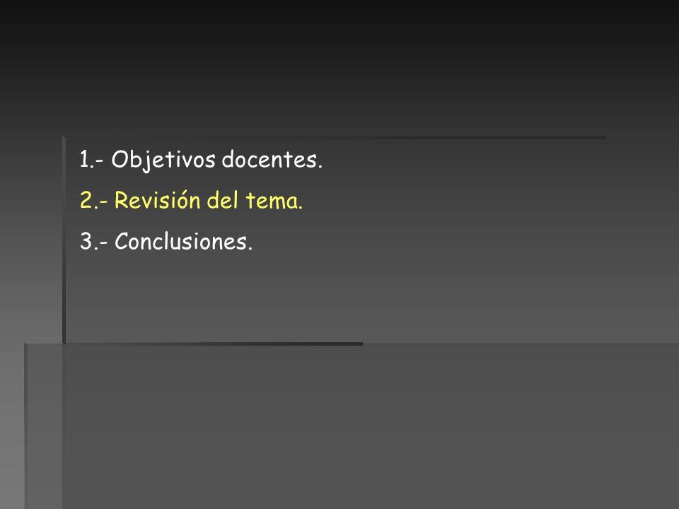 1.- Objetivos docentes. 2.- Revisión del tema. 3.- Conclusiones.