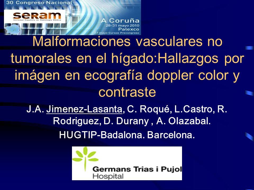 Malformaciones vasculares no tumorales en el hígado:Hallazgos por imágen en ecografía doppler color y contraste J.A. Jimenez-Lasanta, C. Roqué, L.Cast