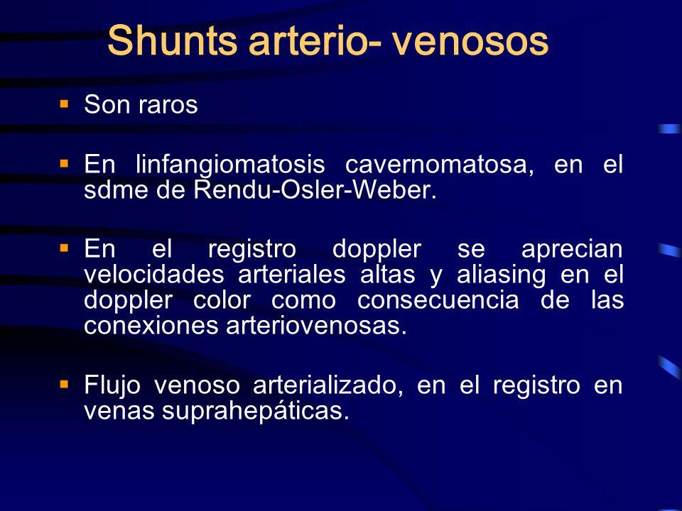 Shunts arterio- venosos Son raros En linfangiomatosis cavernomatosa, en el sdme de Rendu-Osler-Weber. En el registro doppler se aprecian velocidades a