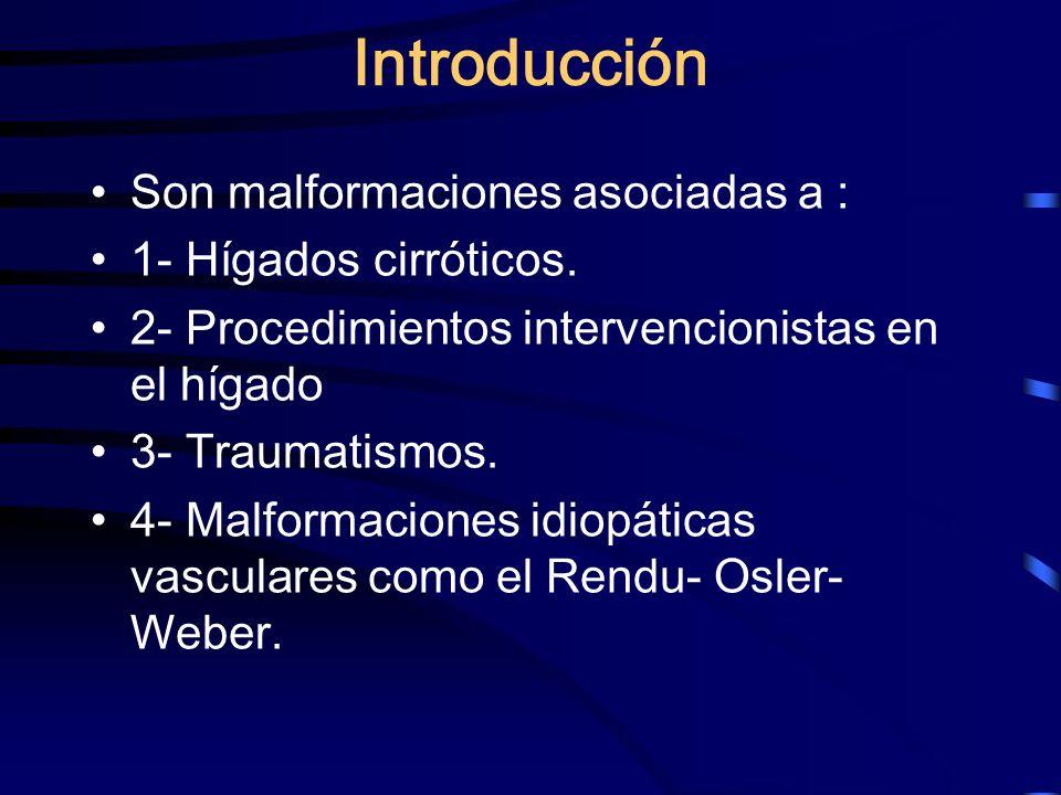 Introducción Son malformaciones asociadas a : 1- Hígados cirróticos. 2- Procedimientos intervencionistas en el hígado 3- Traumatismos. 4- Malformacion