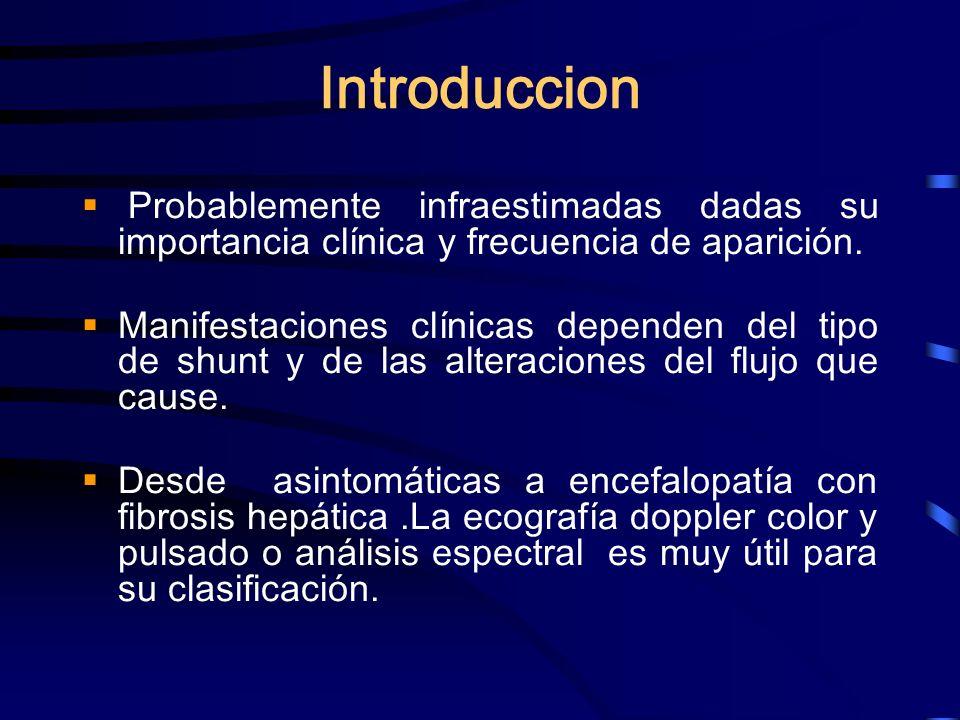 Introduccion Probablemente infraestimadas dadas su importancia clínica y frecuencia de aparición. Manifestaciones clínicas dependen del tipo de shunt