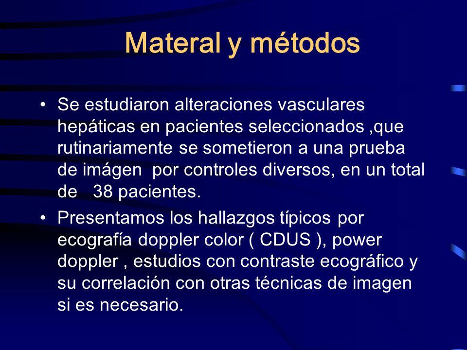 Materal y métodos Se estudiaron alteraciones vasculares hepáticas en pacientes seleccionados,que rutinariamente se sometieron a una prueba de imágen p