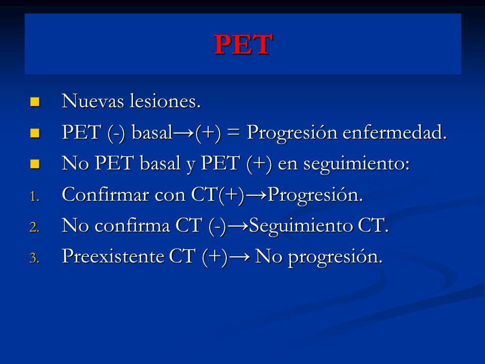 PET Nuevas lesiones. Nuevas lesiones. PET (-) basal(+) = Progresión enfermedad. PET (-) basal(+) = Progresión enfermedad. No PET basal y PET (+) en se