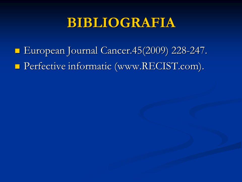 BIBLIOGRAFIA European Journal Cancer.45(2009) 228-247. European Journal Cancer.45(2009) 228-247. Perfective informatic (www.RECIST.com). Perfective in