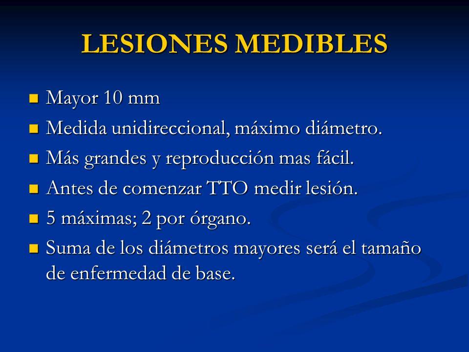 LESIONES MEDIBLES Mayor 10 mm Mayor 10 mm Medida unidireccional, máximo diámetro. Medida unidireccional, máximo diámetro. Más grandes y reproducción m