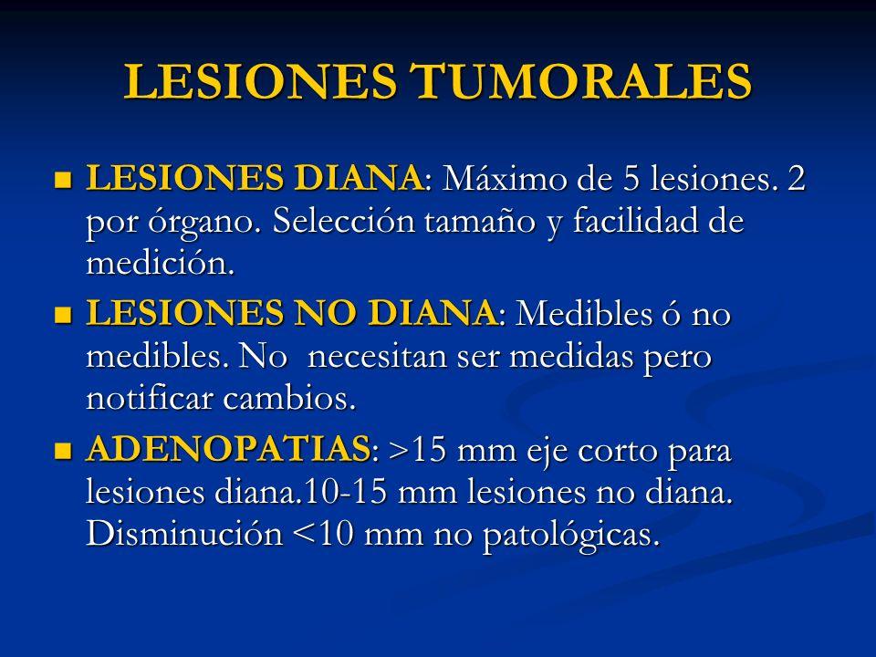 LESIONES TUMORALES LESIONES DIANA: Máximo de 5 lesiones. 2 por órgano. Selección tamaño y facilidad de medición. LESIONES DIANA: Máximo de 5 lesiones.