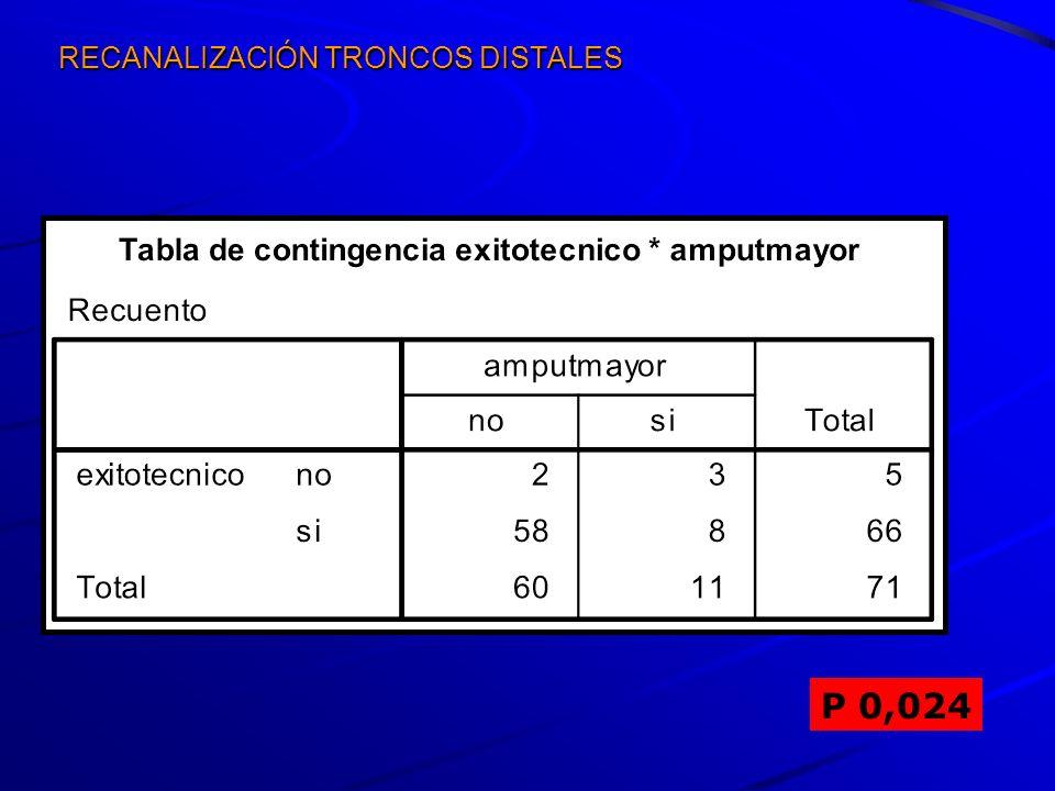RECANALIZACIÓN TRONCOS DISTALES P 0,024