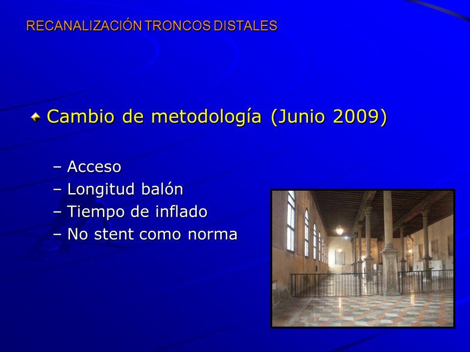 RECANALIZACIÓN TRONCOS DISTALES Cambio de metodología (Junio 2009) –Acceso –Longitud balón –Tiempo de inflado –No stent como norma