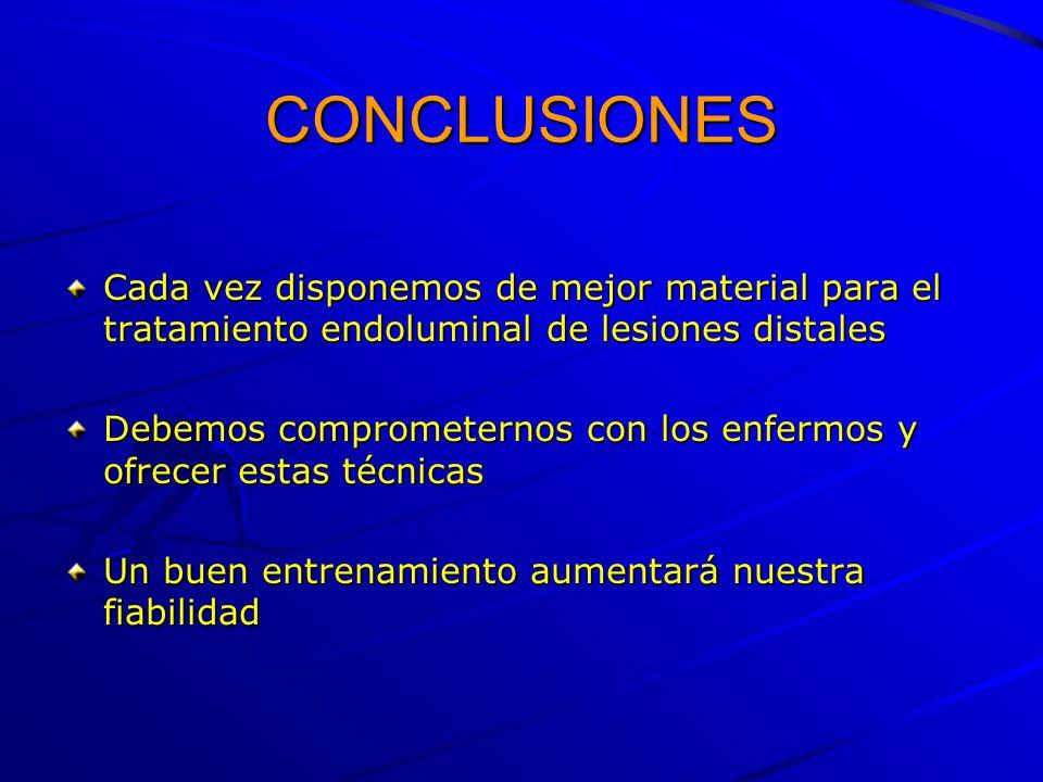CONCLUSIONES Cada vez disponemos de mejor material para el tratamiento endoluminal de lesiones distales Debemos comprometernos con los enfermos y ofre