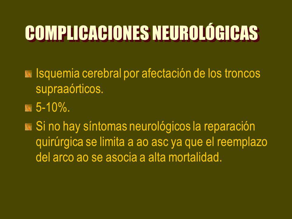 COMPLICACIONES NEUROLÓGICAS Isquemia cerebral por afectación de los troncos supraaórticos. 5-10%. Si no hay síntomas neurológicos la reparación quirúr