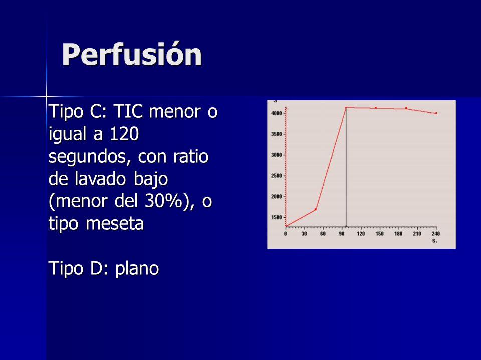 Perfusión Tipo C: TIC menor o igual a 120 segundos, con ratio de lavado bajo (menor del 30%), o tipo meseta Tipo D: plano