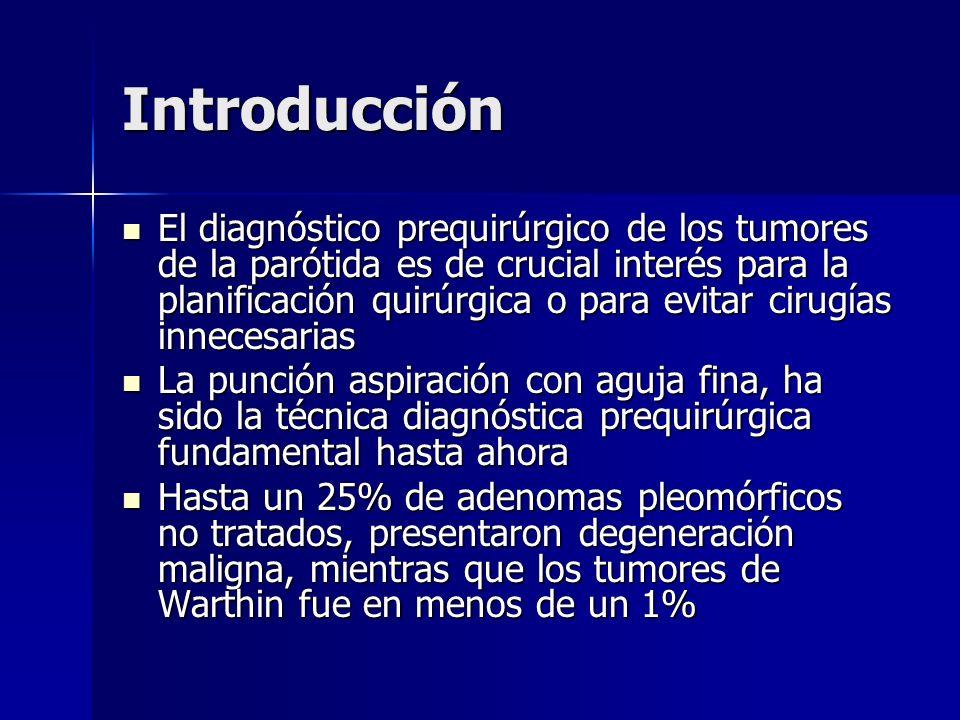 Introducción El diagnóstico prequirúrgico de los tumores de la parótida es de crucial interés para la planificación quirúrgica o para evitar cirugías