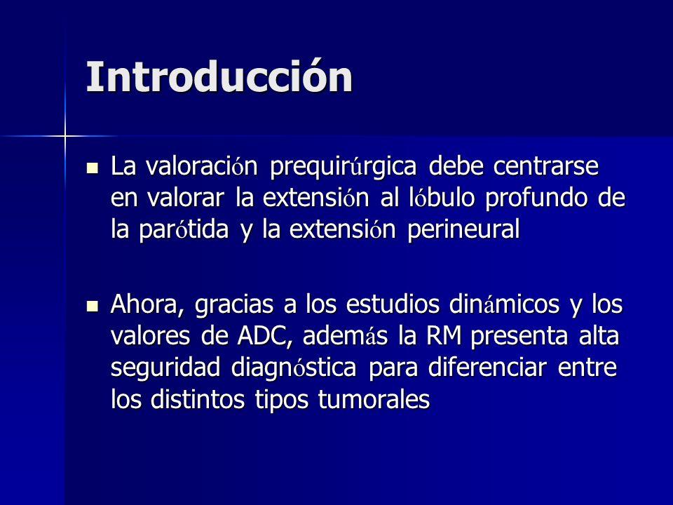 Introducción La valoraci ó n prequir ú rgica debe centrarse en valorar la extensi ó n al l ó bulo profundo de la par ó tida y la extensi ó n perineura