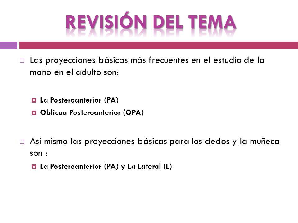 PROYECCIÓN POSTEROANTERIOR DE LA MANO Posición y centraje para realizar Rx PA de Mano.