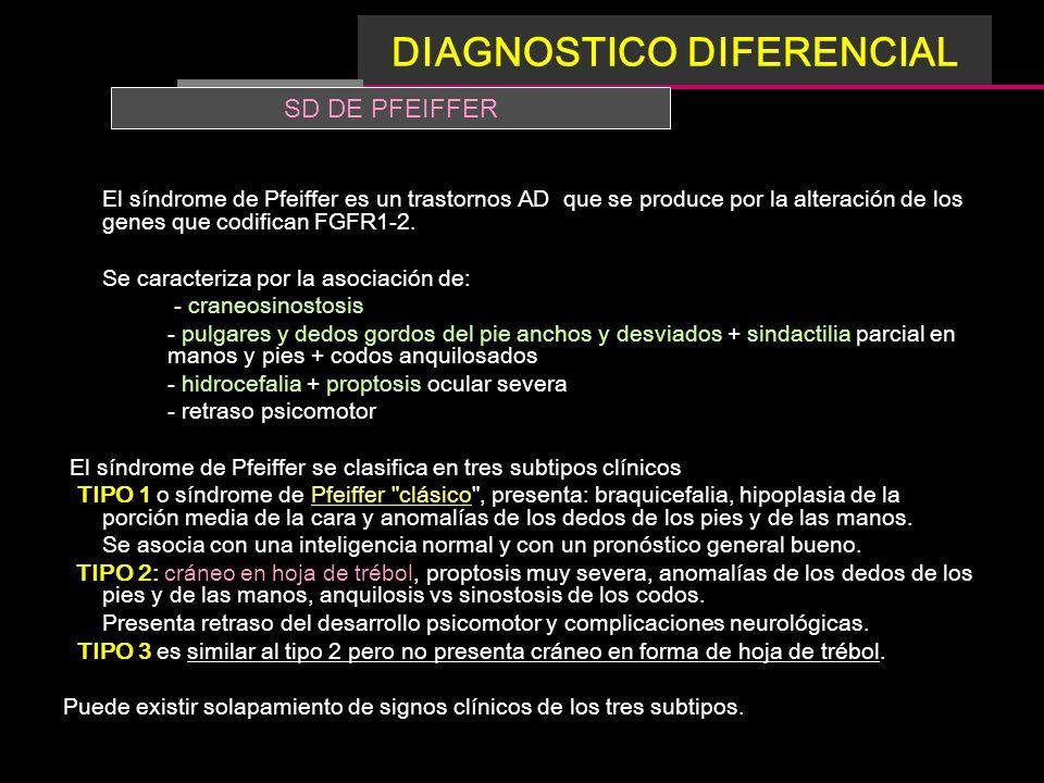 El síndrome de Pfeiffer es un trastornos AD que se produce por la alteración de los genes que codifican FGFR1-2. Se caracteriza por la asociación de: