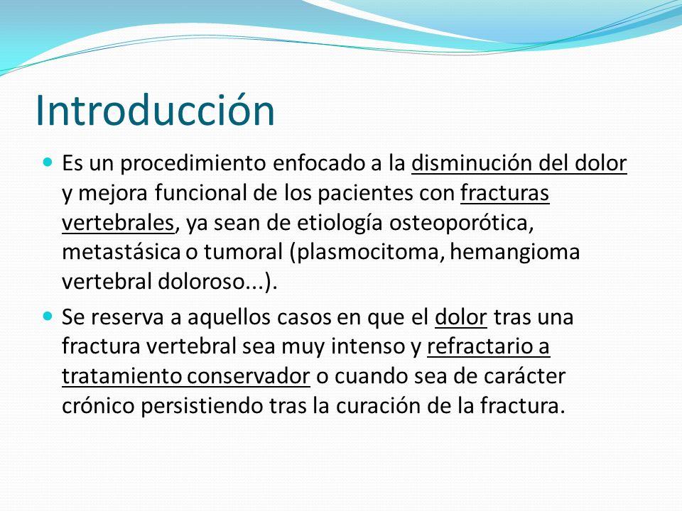 Introducción Es un procedimiento enfocado a la disminución del dolor y mejora funcional de los pacientes con fracturas vertebrales, ya sean de etiolog