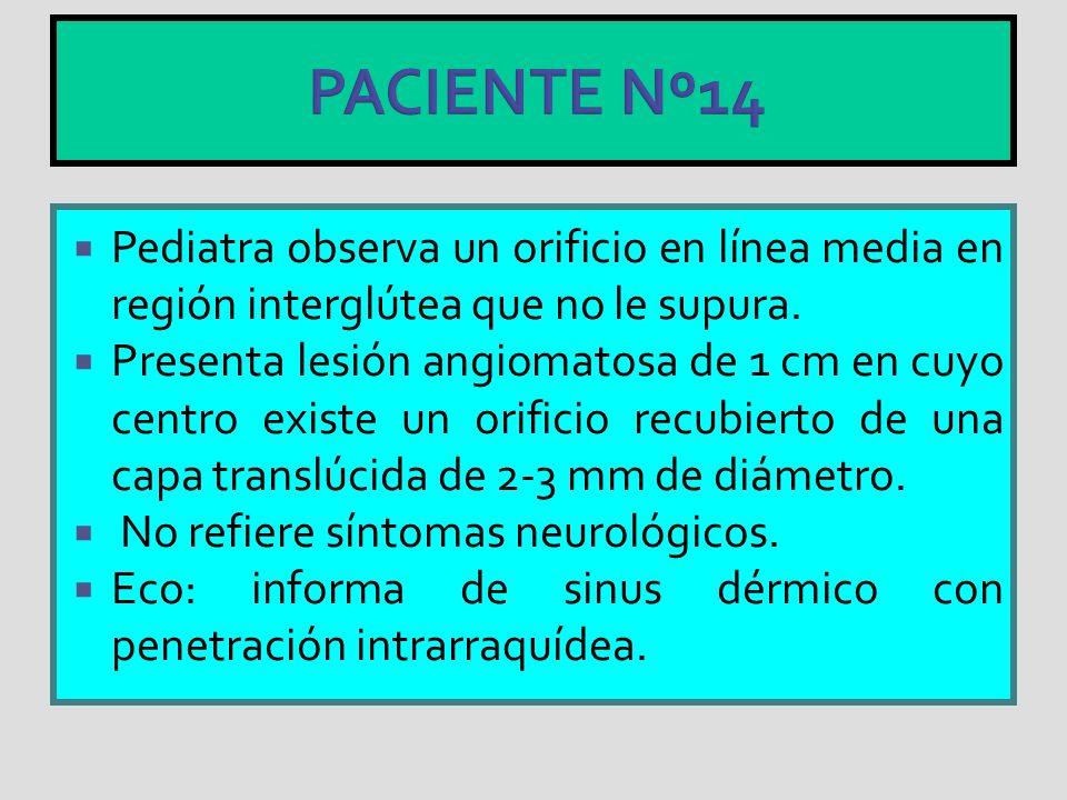 PACIENTE Nº14 Pediatra observa un orificio en línea media en región interglútea que no le supura. Presenta lesión angiomatosa de 1 cm en cuyo centro e