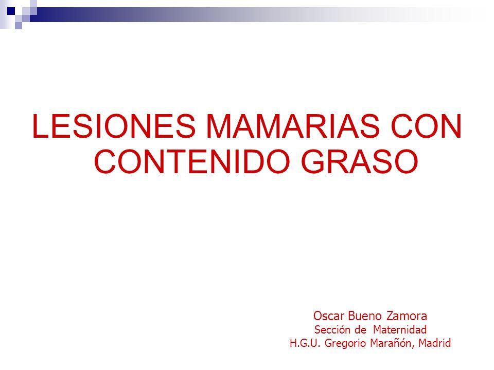 LESIONES MAMARIAS CON CONTENIDO GRASO Oscar Bueno Zamora Sección de Maternidad H.G.U. Gregorio Marañón, Madrid