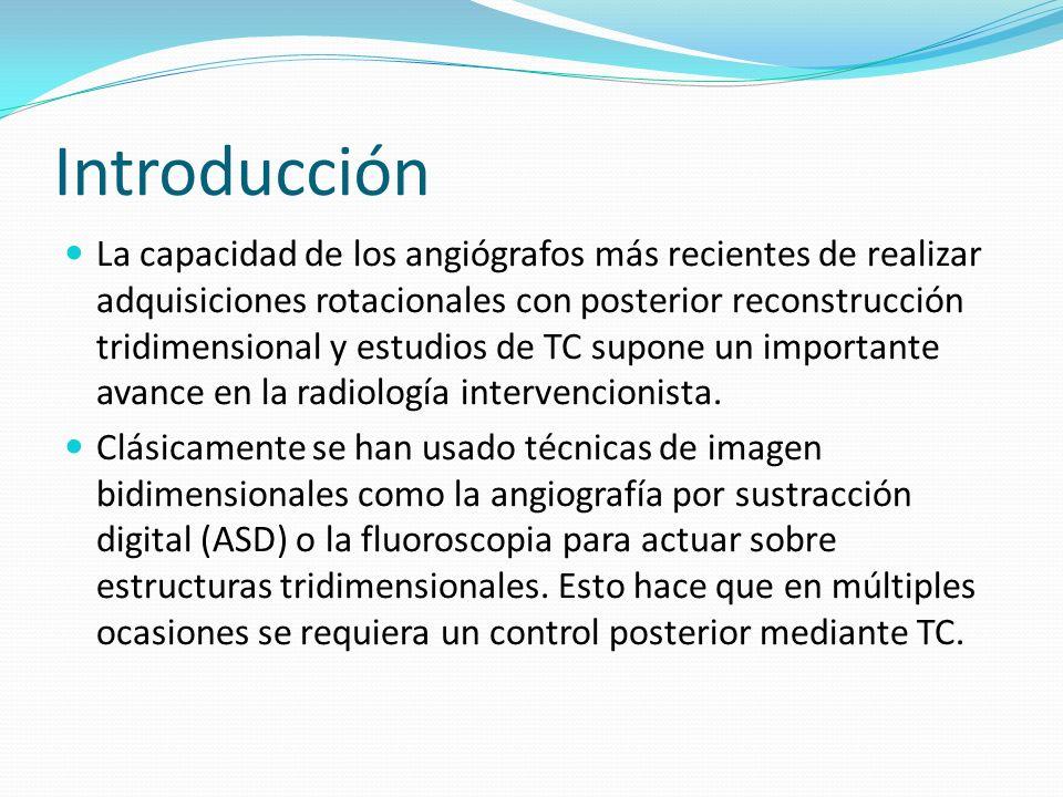 Introducción La capacidad de los angiógrafos más recientes de realizar adquisiciones rotacionales con posterior reconstrucción tridimensional y estudi