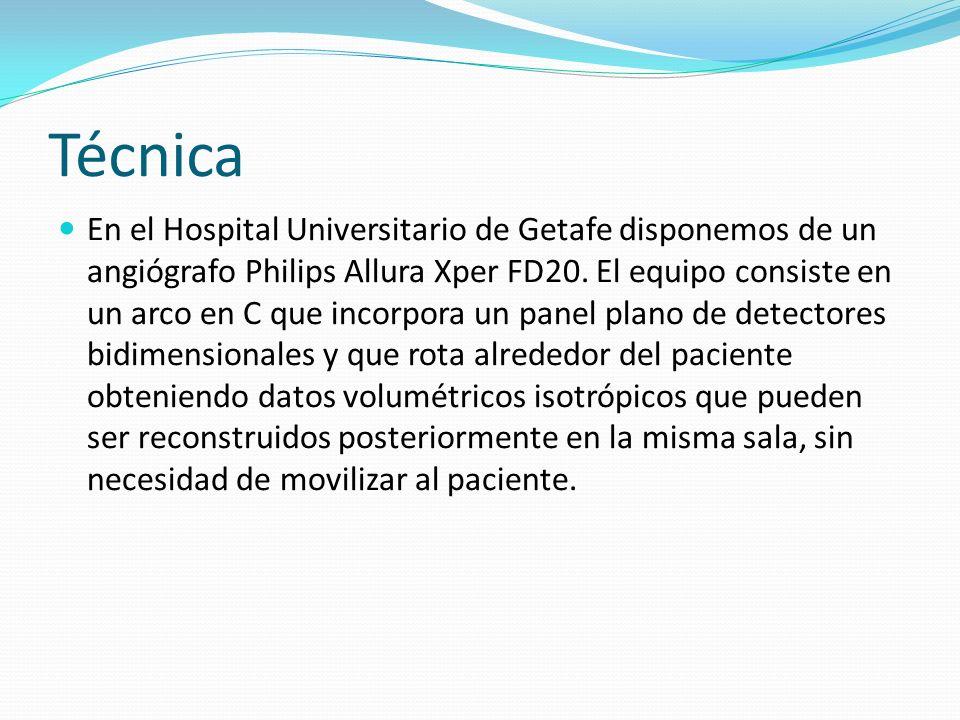Técnica En el Hospital Universitario de Getafe disponemos de un angiógrafo Philips Allura Xper FD20. El equipo consiste en un arco en C que incorpora