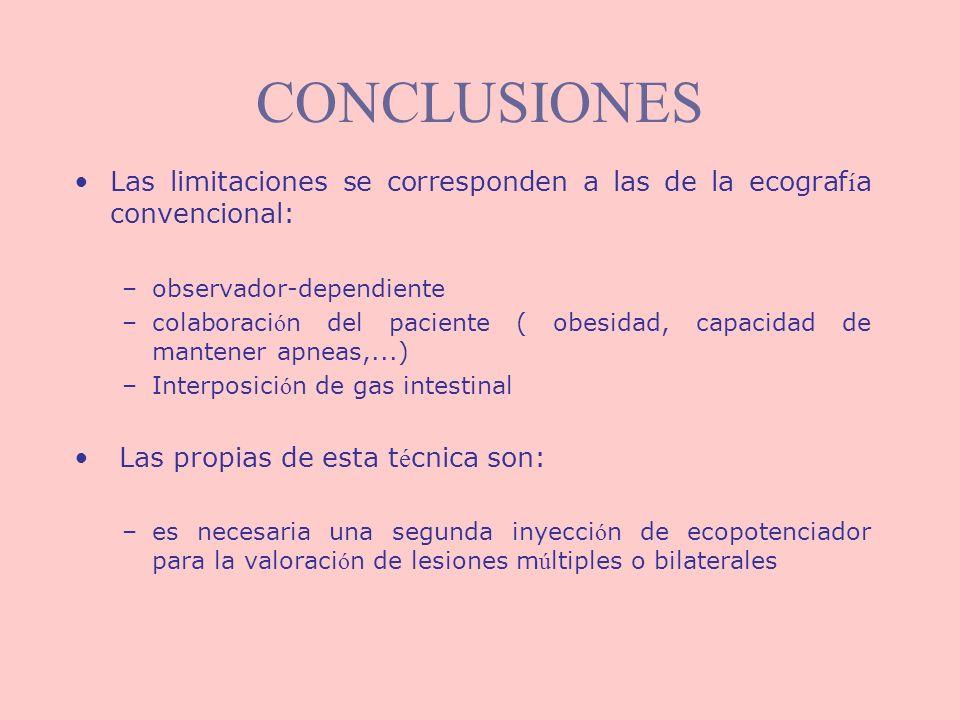 CONCLUSIONES Las limitaciones se corresponden a las de la ecograf í a convencional: –observador-dependiente –colaboraci ó n del paciente ( obesidad, c