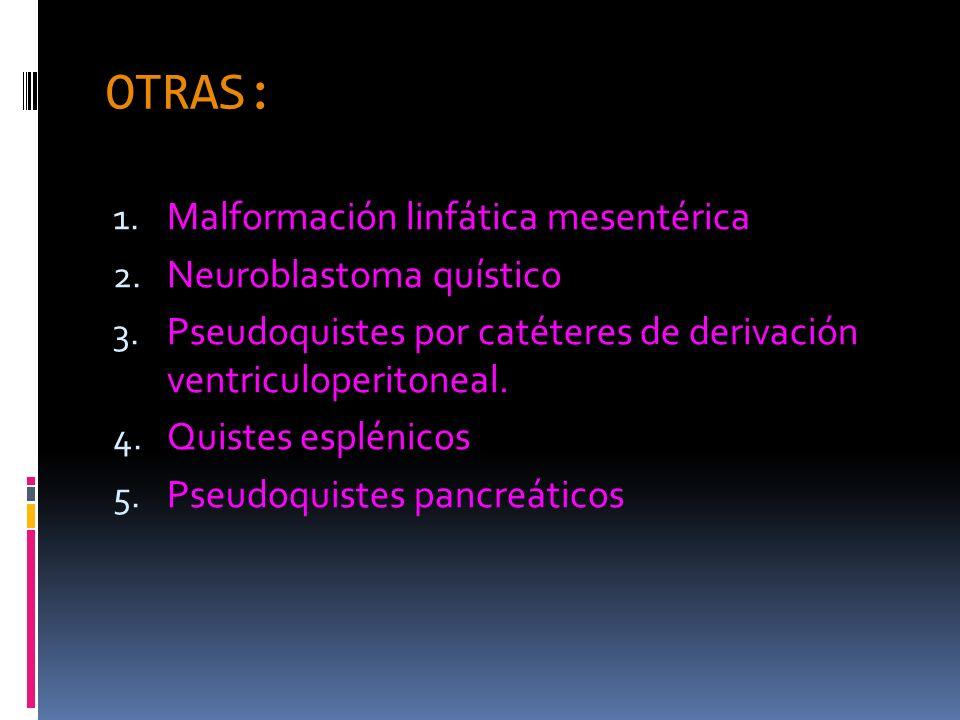 OTRAS: 1. Malformación linfática mesentérica 2. Neuroblastoma quístico 3. Pseudoquistes por catéteres de derivación ventriculoperitoneal. 4. Quistes e