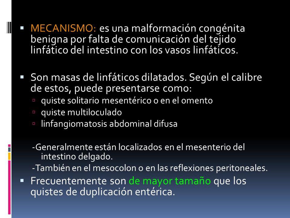 MECANISMO: es una malformación congénita benigna por falta de comunicación del tejido linfático del intestino con los vasos linfáticos. Son masas de l