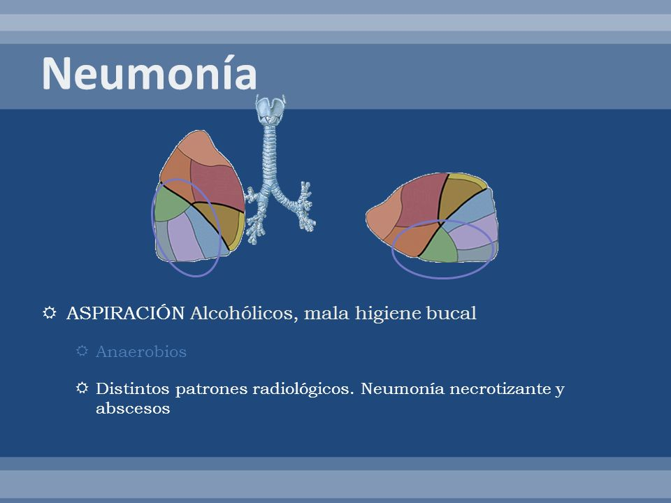 ASPIRACIÓN Alcohólicos, mala higiene bucal Anaerobios Distintos patrones radiológicos. Neumonía necrotizante y abscesos